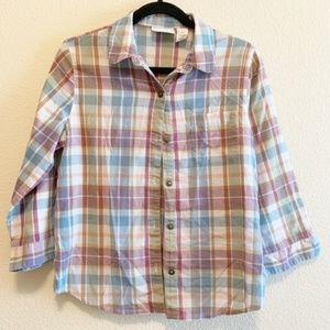 Alfred Dunner Plaid Long Sleeve Button Down